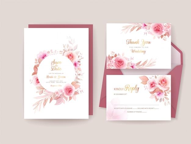 ロマンチックな花のフレームと枠線で設定された結婚式の招待状のテンプレート。バラと桜の花の組成