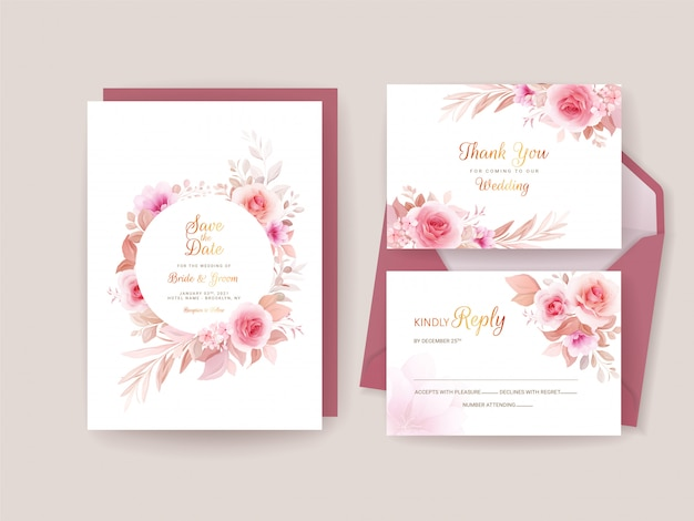 Wedding invitation template set with romantic floral frame and border. roses and sakura flowers composition
