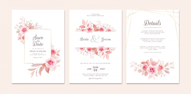 Wedding invitation template set with romantic floral frame and gold line. roses and sakura flowers composition
