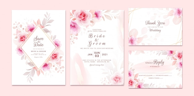 Wedding invitation template set with romantic floral frame and gold watercolor. roses and sakura flowers composition