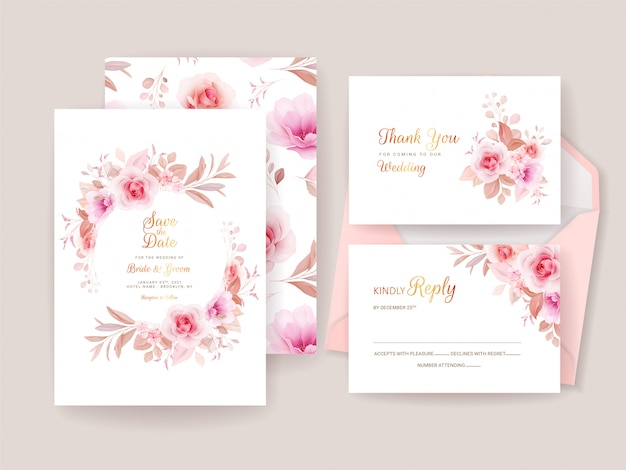 Wedding invitation template set with romantic floral frame and pattern. roses and sakura flowers composition