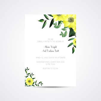 Wedding invitation template set with rose flower bouquet decoration
