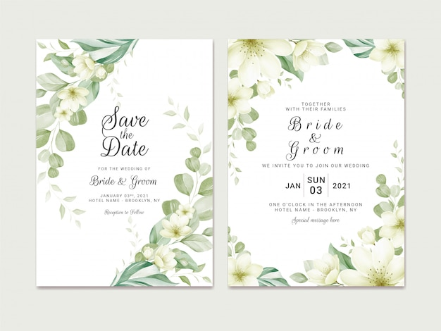 Wedding invitation template set with soft watercolor floral border decoration. botanic illustration for card composition design