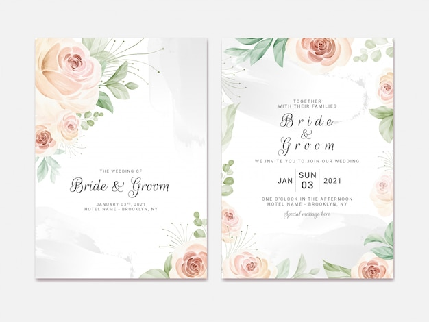 Wedding invitation template set with soft watercolor roses and eucalyptus. botanic illustration for card composition design