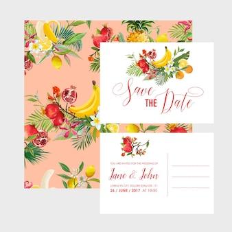 Шаблон свадебного приглашения с тропическими фруктами и цветами