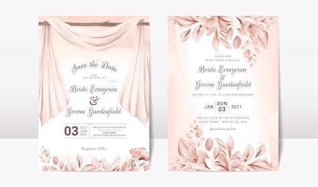 수채화 아치와 꽃 장미 설정 결혼식 초대장 서식 파일
