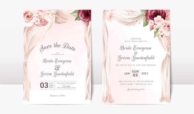 Wedding invitation template set with watercolor arch and floral roses