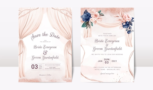 Wedding invitation template set with watercolor arch