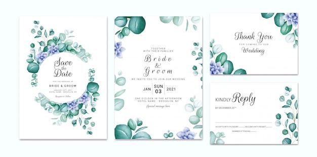 結婚式の招待状のテンプレートは、水彩のユーカリと青い花で設定。カードの組成設計のための花のフレームとボーダー装飾