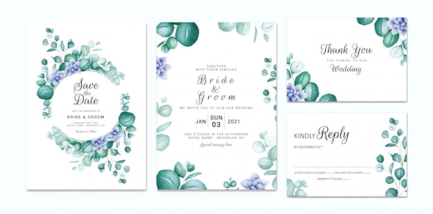 Wedding invitation template set with watercolor eucalyptus and blue flowers. floral frame and border decoration for card composition design
