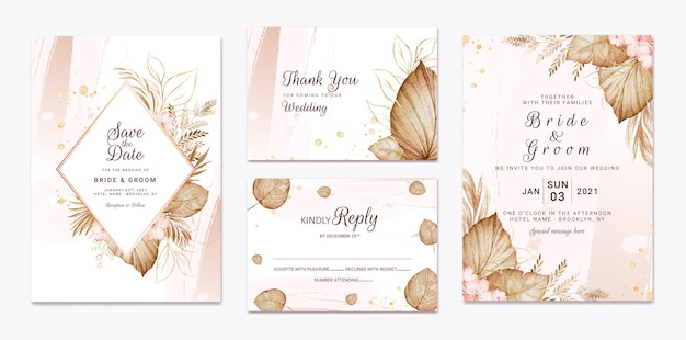 Wedding invitation template set