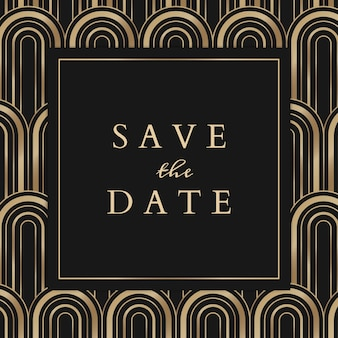 Wedding invitation  template for social media post with geometric art deco style