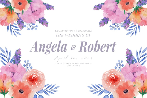 Wedding invitation template spring flowers