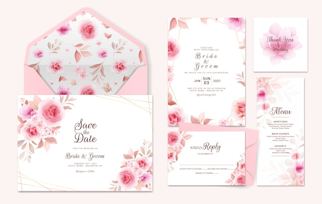 Wedding invitation template suite with floral border, pattern. roses and sakura flowers composition
