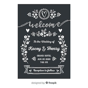 Wedding invitation template in vintage style