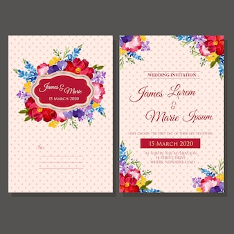 Wedding invitation template watercolor floral