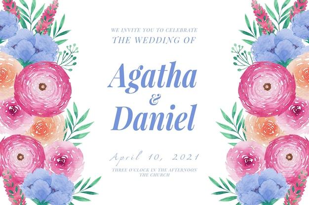 Wedding invitation template watercolor peonies