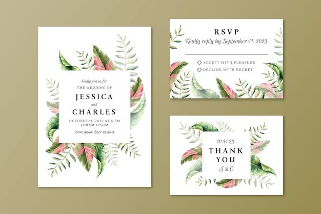 Stile acquerello modello di invito a nozze
