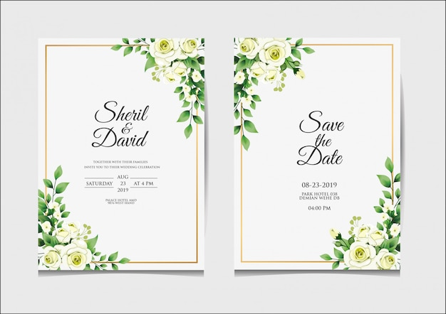 Wedding invitation template white and green style