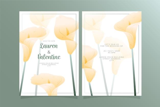 큰 꽃과 결혼식 초대장 템플릿