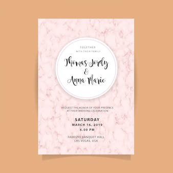 Wedding invitation template with abstract marble background
