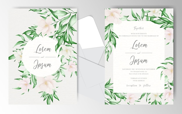 Wedding invitation template with beautiful arrangement floral