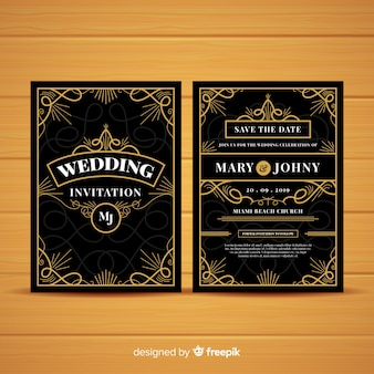 Wedding invitation template with beautiful art deco concept