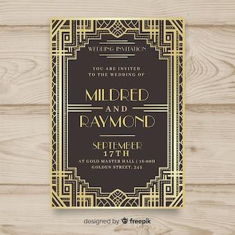Wedding invitation template with beautiful art deco design