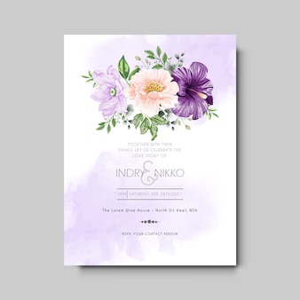 Wedding invitation template with beautiful and elegant floral