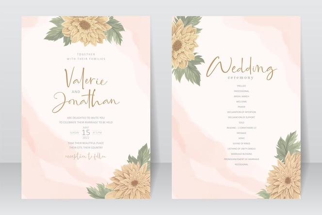 modello di invito a nozze con un bellissimo disegno floreale