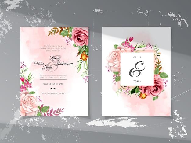 美しい花柄の手描きイラストと結婚式の招待状のテンプレート