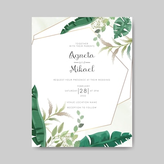 Wedding invitation template with beautiful flower and leaves