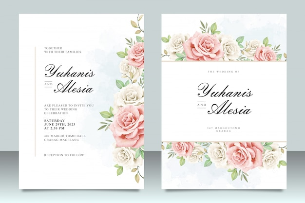 Wedding invitation template with beautiful flowers and leaves