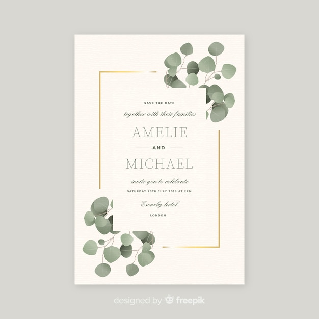 Free Wedding Invitation Template With Beautiful Leaves Svg Dxf Eps Png Cut File Svg
