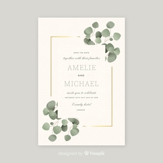 Wedding invitation template with beautiful leaves