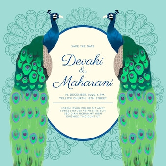 Wedding invitation template with beautiful peacocks