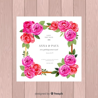 Wedding invitation template with beautiful peony flowers concept