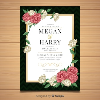 Wedding invitation template with beautiful peony flowers