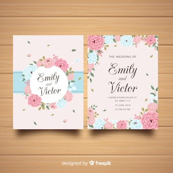 Wedding invitation template with beautiful peony flowers