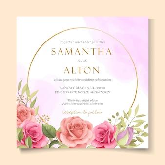 美しいバラの結婚式の招待状のテンプレート