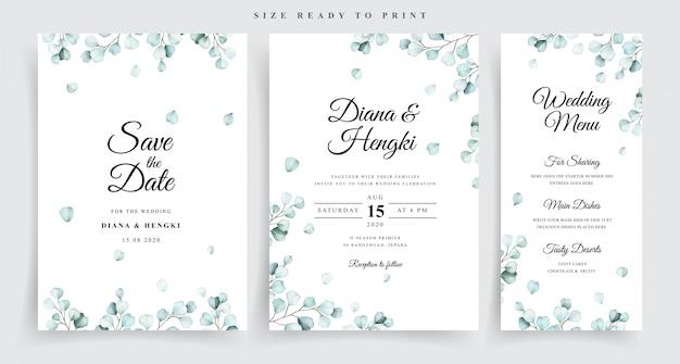 Wedding invitation template with beautiful soft eucalyptus