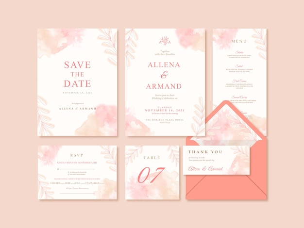 Wedding invitation template with beautiful watercolor background