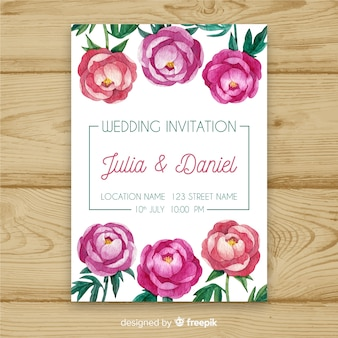 Wedding invitation template with beautiful watercolor peony flowers