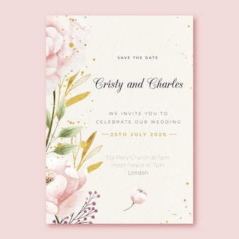 Wedding invitation template with big flower