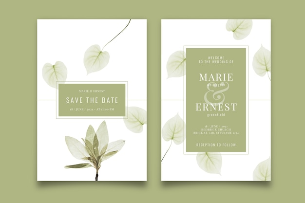 Wedding invitation template with a big flower