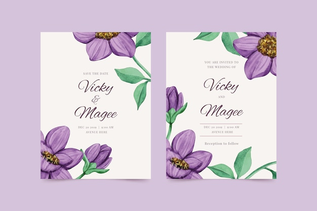 Wedding invitation template with a big purple flower