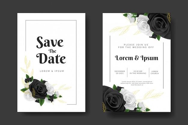 Шаблон свадебного приглашения с черно-белой розой