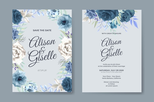 Wedding invitation template with blue rose flower set
