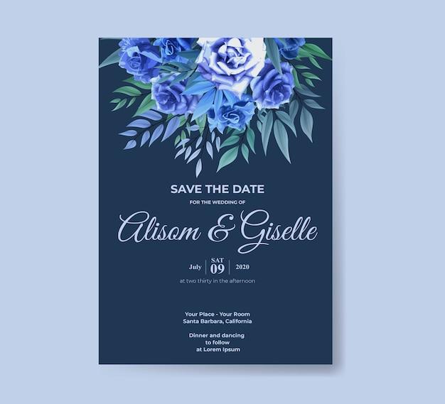 青いバラの花セットの結婚式の招待状のテンプレート