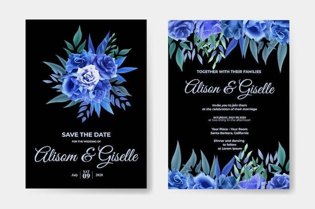 青いバラの花セットの結婚式の招待状のテンプレート Premiumベクター